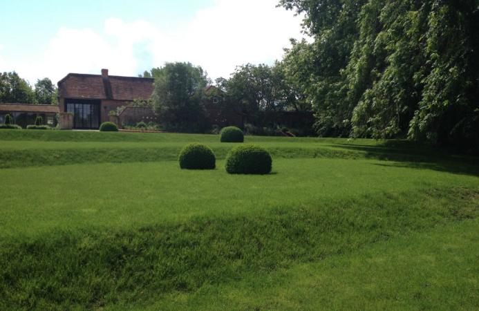 Formal lawn, topiary, Country Estate, Hampshire